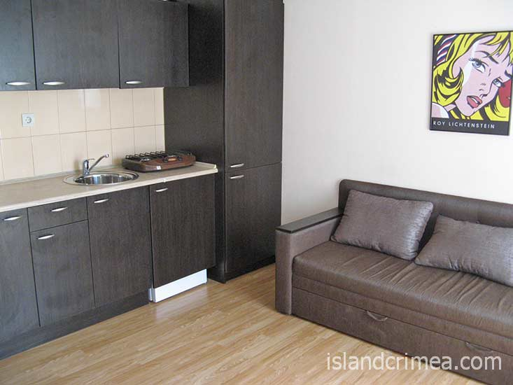 """Гостиничный комплекс """"Зеленый Мыс Resort"""", люкс в коттедже 25, кухонный уголок"""